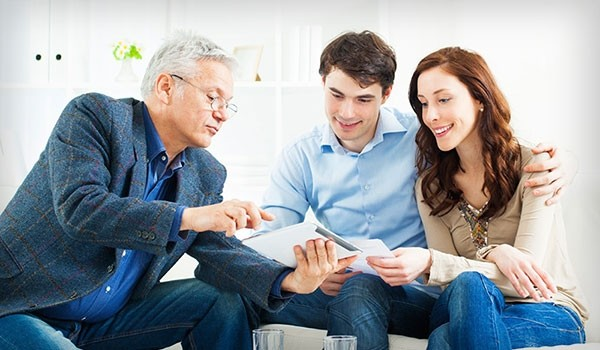 Insurance agent with customers
